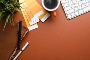 above view graphic designer workspace ELRFDZE