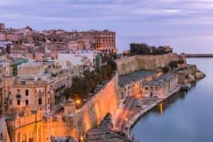 illuminated valletta skyline at evening malta 2021 04 02 20 30 13 utc