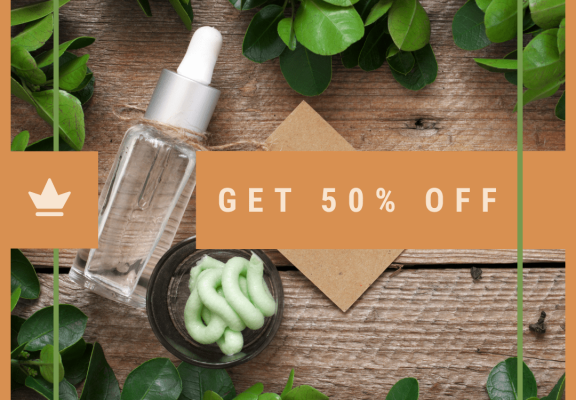 Green and Brown Natural Cosmetics Sale Instagram Post
