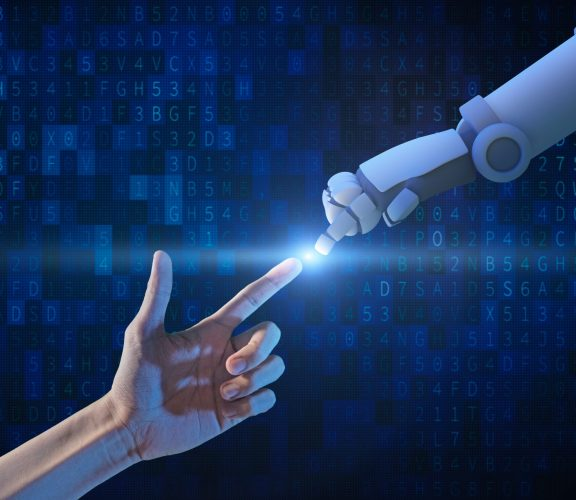 Human hand and robot hand with binary number code and light on blue screen background, artificial intelligence, AI, in futuristic digital technology concept, 3d illustration